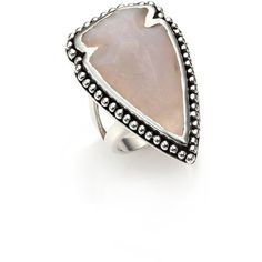 Pamela Love Jasper & Sterling Silver Arrowhead Ring (1.875 BRL) ❤ liked on Polyvore featuring jewelry, rings, apparel & accessories, pamela love ring, sterling silver rings, sterling silver jewellery, pamela love and bezel jewelry