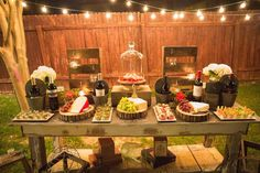 How great is this food table at a rustic outdoor party! See more party ideas at CatchMyParty.com!