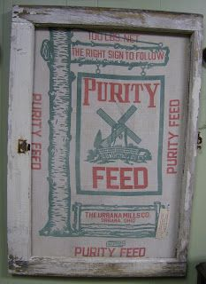 Country Lane Crafts and Antiques: Feed sacks framed in old windows