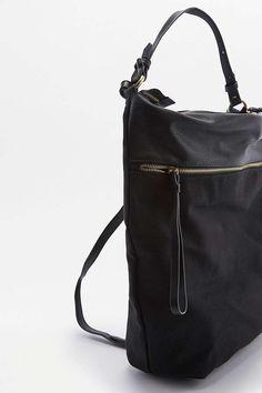 Slide View: 5: Sac à dos convertible en toile noir