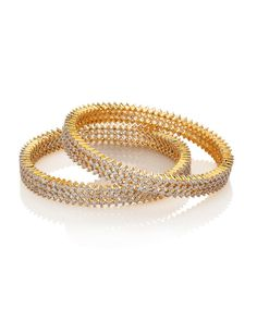 Cz Encrusted Sophisticated Bangle Set With Gold Plating