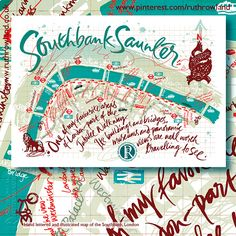 Hand lettered and illustrated map for the Southbank Walk along the Thames in London