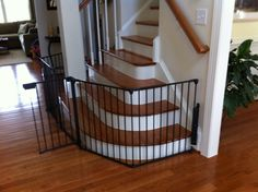 Elegant Black Baby Safety Gate For Stairs Design Ideas With Curved Shaped  Safety Gate Frame That