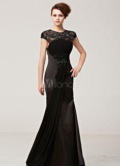 Black Jewel Neck Rhinestone Lace Polyester Woman's Evening Dress - Milanoo.com