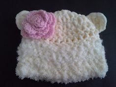 Ivory and white polar bear hat white bear by BloomingRoseCrochet