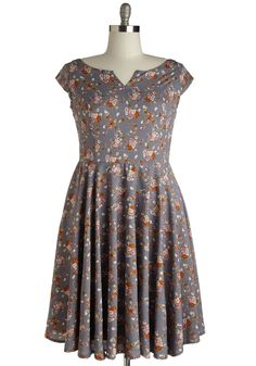 Garden Verity Dress. When you strike a posy in this slate-grey dress, youre a vision of sincere splendor. #grey #modcloth