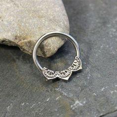 Flower petal Ring Hoop, Nipple Ring, from purityjewel | Quick