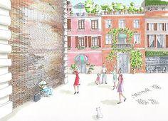 Italian Street Music by Elena Belyaeva #drawing #art #rome #italy #streetscene #cityscape #people