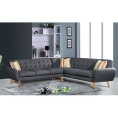 Exceptional US Pride Furniture Dorris Fabric Contemporary Right Chaise Sectional Sofa  Set (Brown) | Sofa Set, Contemporary And Upholstery