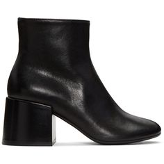 MM6 Maison Margiela Black Cube Heel Boots (685 CAD) ❤ liked on Polyvore featuring shoes, boots, black, zip boots, black zipper boots, black block heel boots, leather shoes and block heel boots