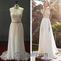 #promdress01 prom dresses - 2015 cute backless bateau neckline white lace satin long formal prom dress for teens, ball gown,evening dress
