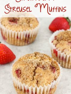 Strawberry Streusel Muffins are delicious for breakfast or as a snack. Each strawberry muffin is filled with fresh strawberries and covered with a streusel topping. - Strawberry Streusel Muffins Recipe from Sugar, Spice and Family Life Corn Dip Recipes, Pinwheel Recipes, Popcorn Recipes, Party Recipes, White Chocolate Cookies, Chocolate Chip Pancakes, Chocolate Chip Cookie Dough, Banana Streusel Muffins Recipe, Streusel Topping