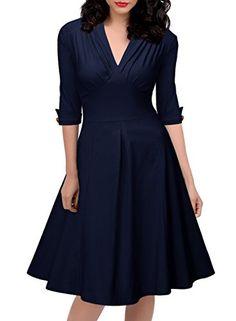 Miusol® Women's Retro Deep-V Neck Elegant Sleeve 1950'S Vintage Bridesmaid Dress (Small, Long Sleeve-Navy Blue) Miusol http://www.amazon.com/dp/B015CB1WQ2/ref=cm_sw_r_pi_dp_gzsmwb1E44T8V