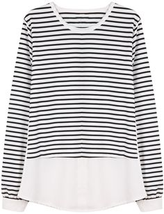 White Long Sleeve Contrast Striped Loose Sweater