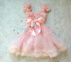 Vestido de niña de las flores Bubblegum Pink Bow por HappyBOWtique
