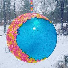 "Crescent Moon, Beaded Suncatchers, Sun Catcher, Garden Decor, Spiritual Gift, Crescent Moon Wall Hanging, Housewarming Gift, 9"" Sun Catcher by MaidenLongIsland on Etsy"