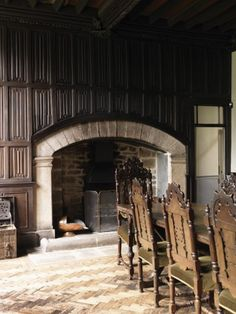 The Dining Room at Godolphin House, c. mid-17th c., photo by Cristian Barnett. Herringbone floors and linenfold paneling