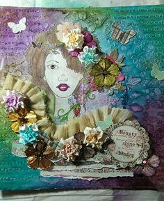 Michelle Hearnden - Mixed media using Prima Bloom Girl stamp