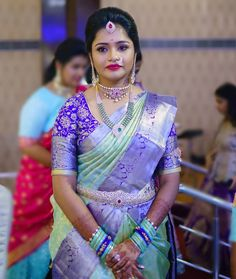Fulfill a Wedding Tradition with Estate Bridal Jewelry Half Saree Designs, Pattu Saree Blouse Designs, Fancy Blouse Designs, Bridal Blouse Designs, Lehenga Designs, Bridal Hairstyle Indian Wedding, Indian Bridal Hairstyles, Indian Bridal Fashion, Half Saree Lehenga