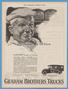 1923 Graham Brothers Trucks Detroit MI Evansville IN Ward Baking Co New York ad