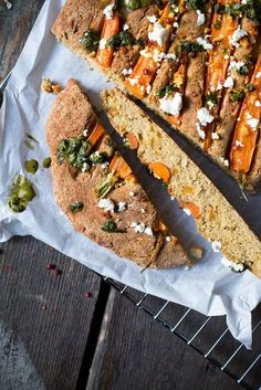 Carrot Focaccia with dried Mango, Feta and Pesto.