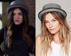 "Aria's grey felt hat from Pretty Little Liars episode ""Thrown from the Ride"". Free People Patton Porkpie Hat - $58"