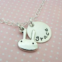 Easter Sale  bunny necklace with custom name charm by juliethefish
