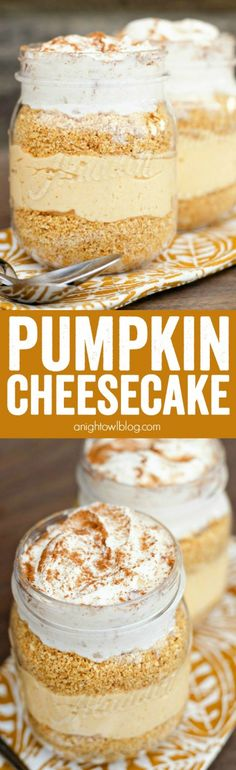 Make these fun and easy No Bake Pumpkin Cheesecakes in mason jars for a delectable fall dessert! Make these fun and easy No Bake Pumpkin Cheesecakes in mason jars for a delectable fall dessert! Mini Desserts, Brownie Desserts, Mason Jar Desserts, Dessert Oreo, Dessert In A Jar, Mason Jar Meals, Meals In A Jar, Pumpkin Dessert, Fall Desserts