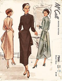 Vintage 40s Dress Pattern McCall 7866 by ThePatternSource