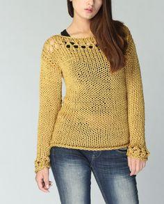 Eco-suéter suéter de algodón en amarillo mostaza de punto a