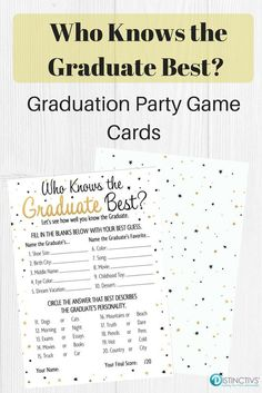 Who Knows the Graduate Best - Graduation Party Game Cards - for Up to 25 #graduationpartygame #graduationparty #blackandgoldgradparty