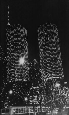 Marina City decorated for Christmas, 1965, Chicago