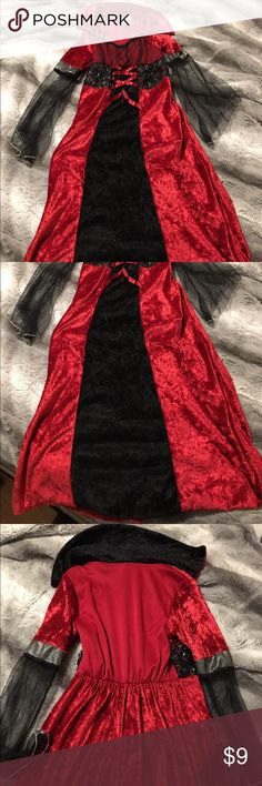 Girls Vampire costume Girls vampire dress costume. In pretty good used condition. My daughter used this several times but there are no rips or stains. There is some fraying near tag but doesn't effect dress. The size no longer shows on the tag but I'm pretty sure it's a child's small 7-10. My daughter is slender but can still fit into it and she's about 53 inches tall and 57 pounds. Let me know if you have any questions. Costumes Halloween