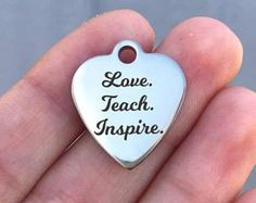 Love Inspire Teach Stainless Steel Charms Quantity Options Smaller BFS1828