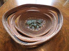 Beautiful OOAK handmade pine needle basket with ceramic centerpiece Frog Pond via Etsy