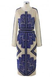 Eyelash Lace Mesh Maxi Dress in Blue