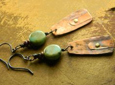 Hammered Copper Earrings Mixed Metal Czech Glass by ChrysalisToo, $37.00