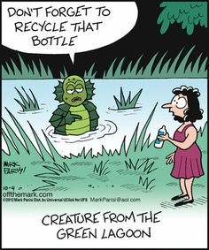 Creature From the Black Lagoon cartoon Recycling Far Side Cartoons, Funny Cartoons, Funny Comics, Funny Jokes, Hilarious, Funny Pix, You Funny, Funny Cute, Funny Pictures