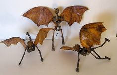 Witch Crafts - Halloween flying demons made from dollar store skeletons