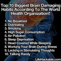 Biggest brain damaging habits (Per PSG Hospitals~ 7. Head covered while sleeping Sleeping with the head covered, increases the concentration of carbon dioxide and decrease concentration of oxygen that may lead to brain damaging effects.)