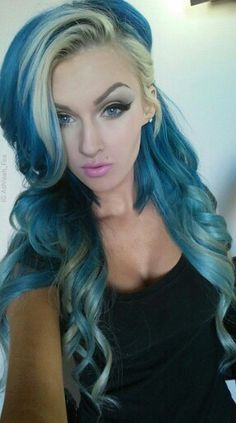 Blonde and blue hair