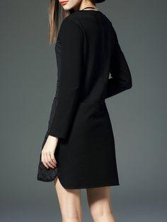 Black Pockets A-line Long Sleeve Mini Dress