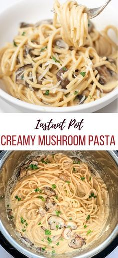 Instant Pot Creamy Mushroom Pasta – Piping Pot Curry Spaghetti tossed in a creamy cheese sauce loaded with mushrooms. Make this delicious creamy dreamy Instant pot mushroom pasta in less than 30 minutes! Instant Pot Pasta Recipe, Instant Pot Dinner Recipes, Pot Recipe, Recipes Dinner, Breakfast Recipes, Instant Pot Pressure Cooker, Pressure Cooker Recipes, Slow Cooker, Vegetarian Mushroom Recipes