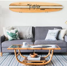 Custom Listing for Jennifer Gambill Personalized Decorative Wooden Surfboard Wall Hanger Surfboard Decor, Wooden Surfboard, Furniture Grade Plywood, Wall Hanger, Outdoor Sofa, Wall Art Decor, Family Room, Sweet Home, Interior Decorating