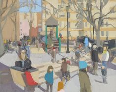 "John Dubrow, ""Winter Playground"", 2011-13, oil on linen, 46""x58"""