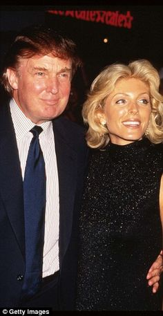 Real estate mogul Donald Trump and wife Marla Maples attend the premiere of 'Tin Cup' August 6, 1996 in New York City