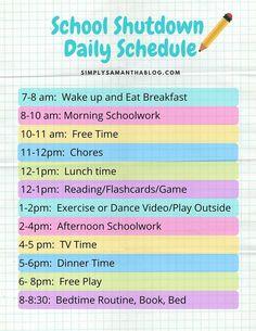 home school schedule daily routines School Shutdown Daily Schedule Daily Routine Chart For Kids, Kids Summer Schedule, Daily Routine Schedule, Toddler Schedule, Charts For Kids, Daily Schedule Printable, Daily Routines, Morning Routine School, After School Routine