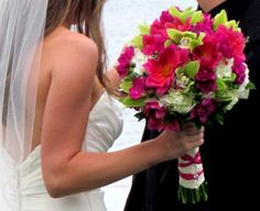 fuschia and green wedding colors | White, Fuschia and Green Bridal Bouquet | We Offer Custom Wedding ...