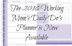FREE Planner Printable designed for working moms - redesigned for 2016