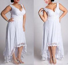 30e94219e28 Falydal Women s Plus Size High Low Wedding Dress V Neck Lace Appliques Bridal  Gowns at Amazon